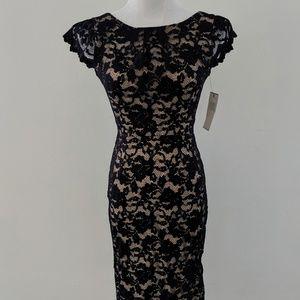 ABS Black Lace Overlay Midi Dress
